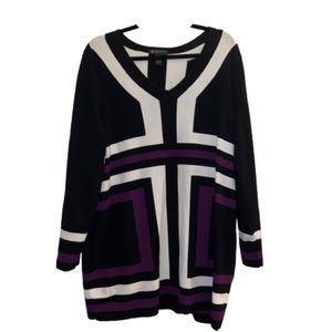 INC Woman color block v neck blouse top shirt 2X
